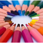 Image of colored pencils to promote art supplies for sale